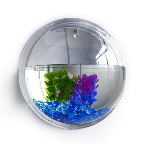 Image of Wall Mounted Fish Bowl Tank Transparent / 15cm Wall Mounted Fish Bowl Tank