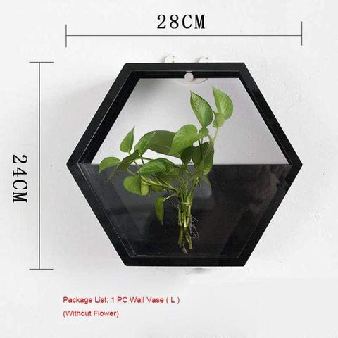 Image of Wall Plant Fish Flower Pot Vase Black L Wall Fish Tank Modern Hanging Plant Vase