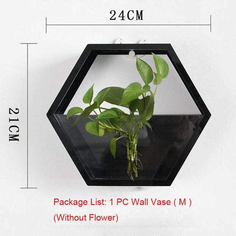 Image of Wall Plant Fish Flower Pot Vase Black M Wall Fish Tank Modern Hanging Plant Vase