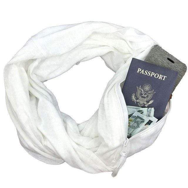 White Convertible Scarf with Pocket