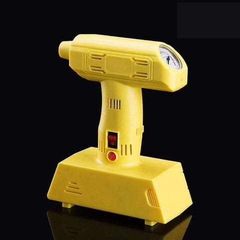 Image of Yellow Portable Tire Inflator Pump with LED Lighting