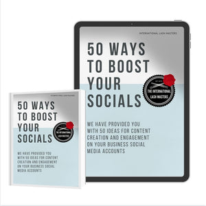 E BOOKS: 50 Ways to Boost your Socials and Engagement - Lash'd Eyelashes