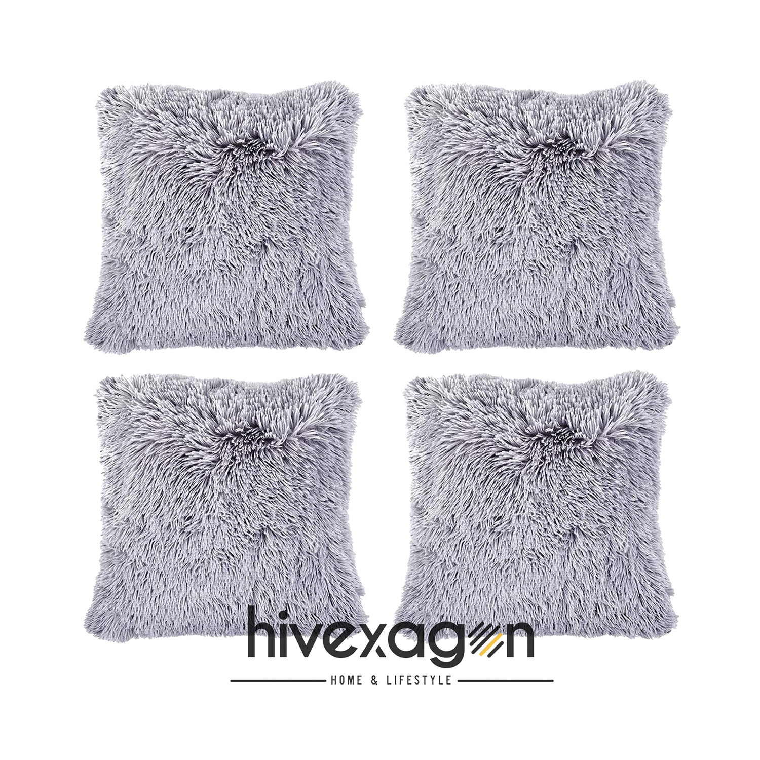 Stone Faux Fur Pillows Pack Of 4 17 X 17 Hivexagon