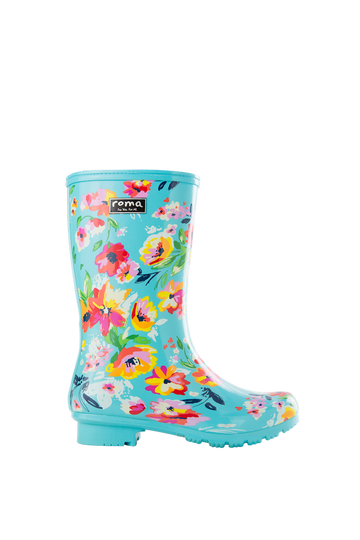 Emma Mid Turquoise Floral Women's Rain Boots