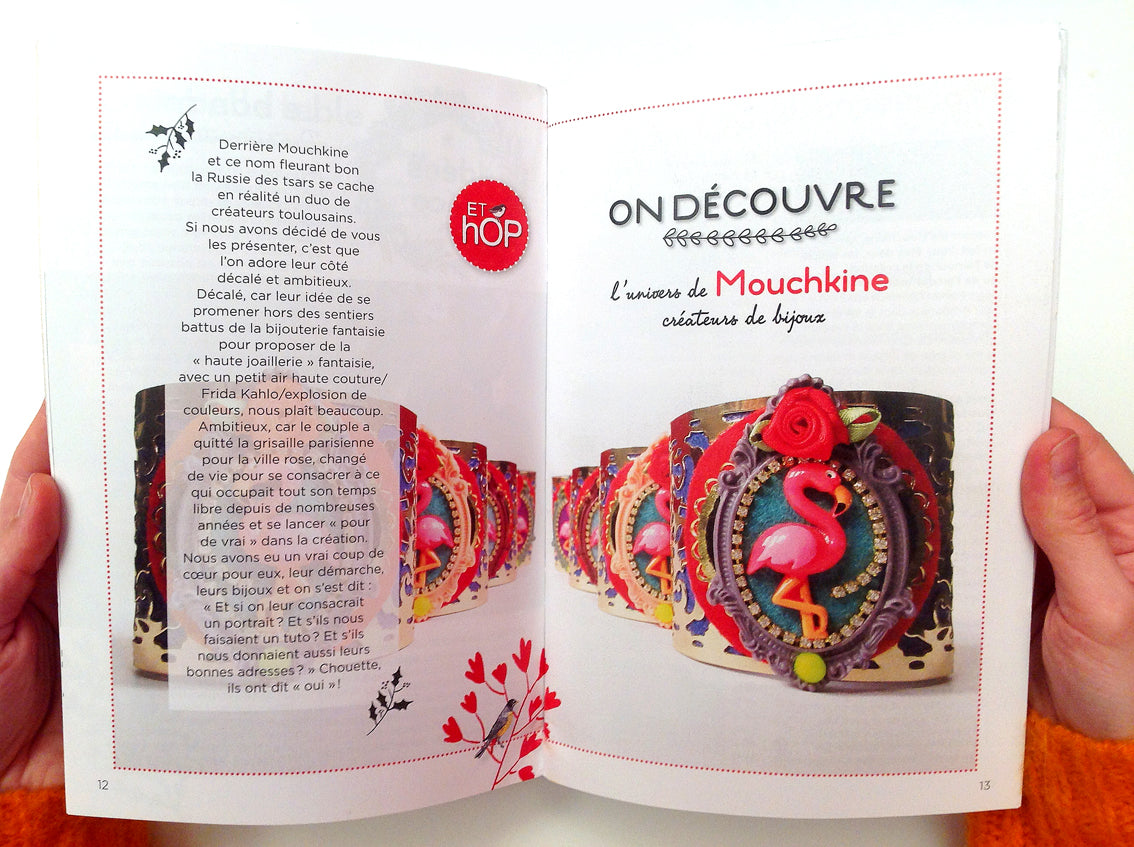 article de presse sur Mouchkine Jewelry : magazine de mode Et Hop! - Mouchkine Jewelry article in the fashion trend magazine Et Hop!
