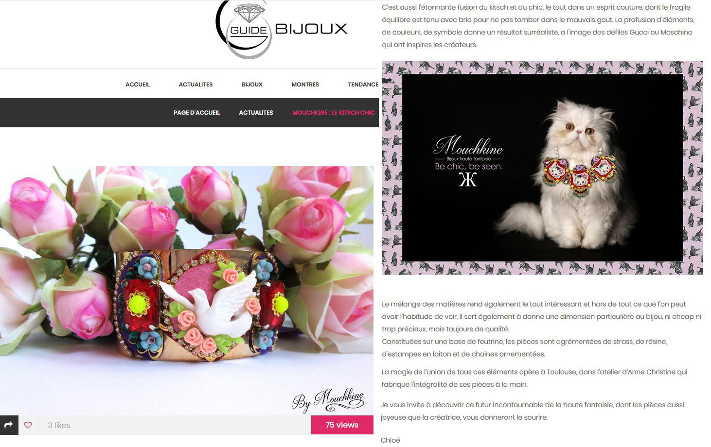 mouchkine jewelry article dans le guide du bijou - Article about Mouchkine Jewelry in the fashion trend site Le guide du bijou
