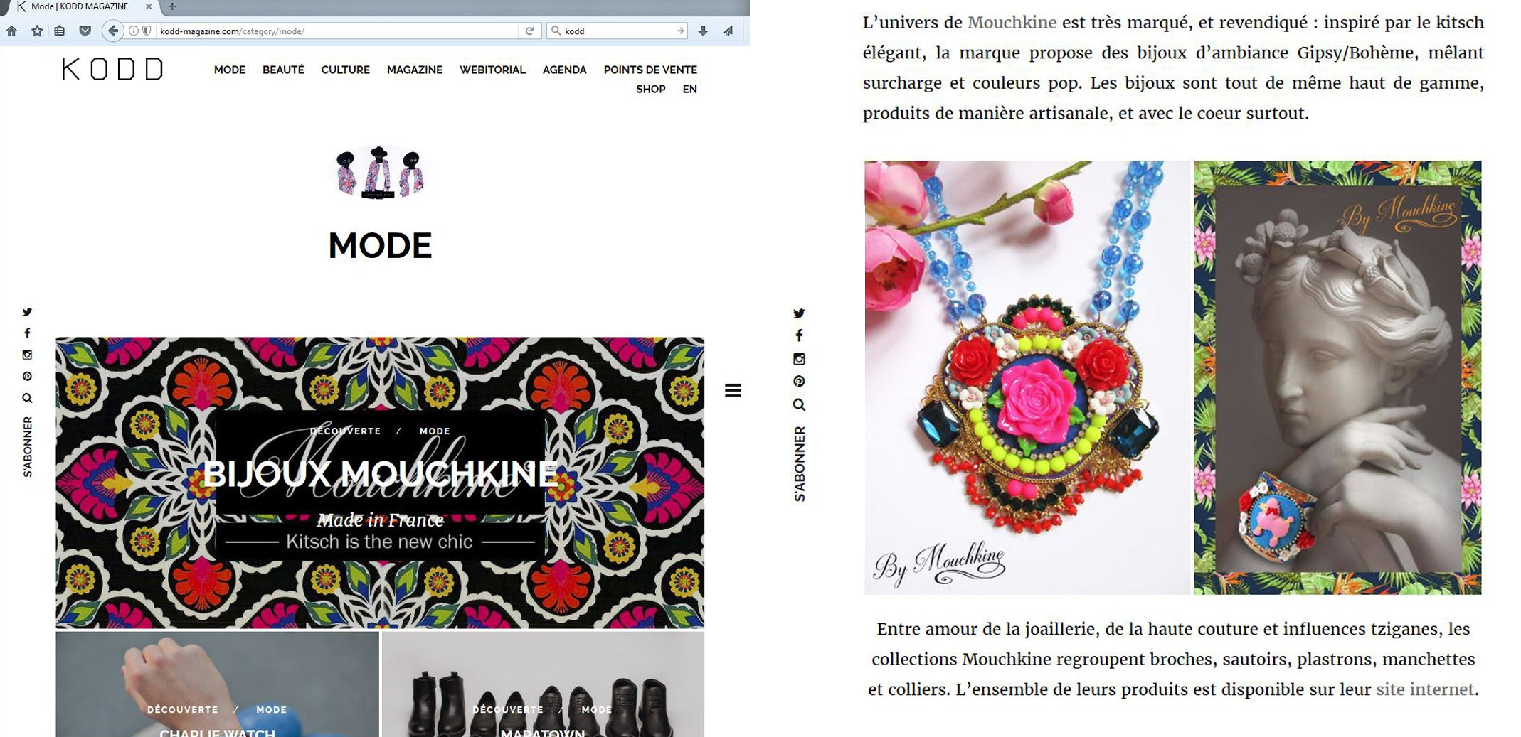 article élogieux sur le site mode et couture de Kood Magazine - fashion trends site Kood magazine article about Mouchkine Jewelry.