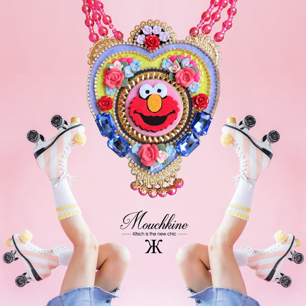 mouchkine jewelry trendy and chic necklace , with elmo popart and pop culture caracter