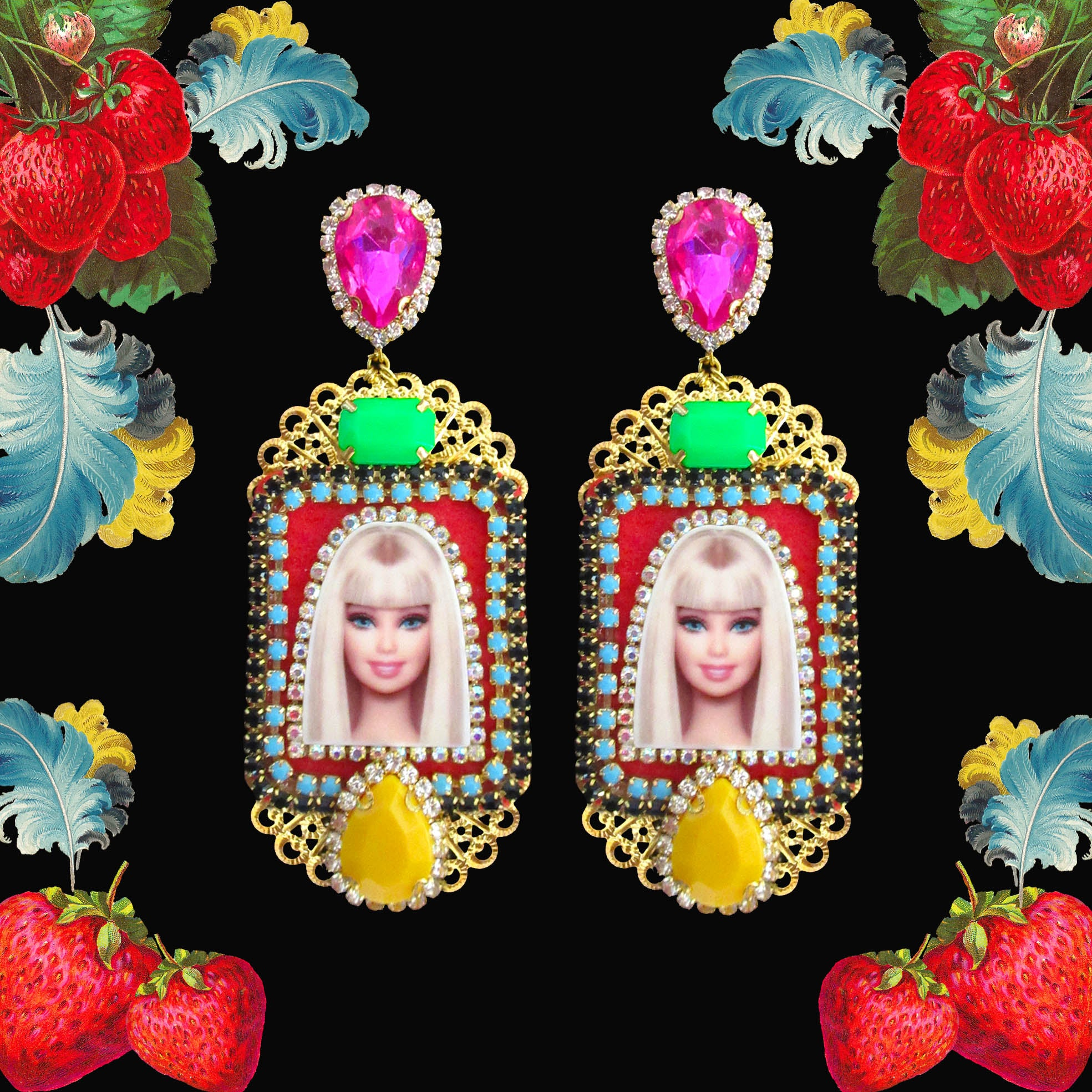 Mouchkine Jewelry Barbie pop culture luxury couture earrings. Handmade in france.