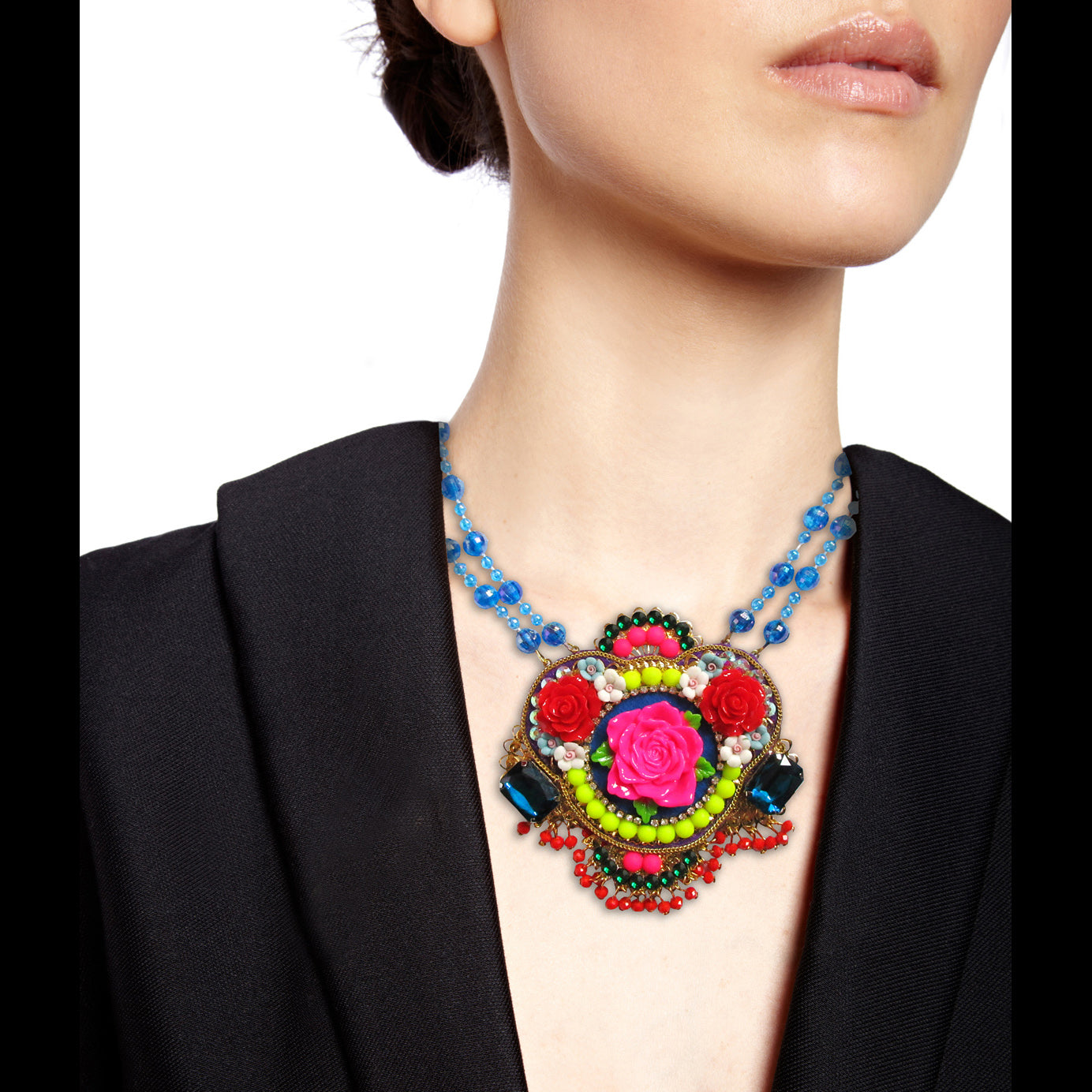 Mouchkine Jewelry flowers from Russia Necklace, entirely handmade and made in France, a haute couture jewel to sublimate your style with grace. Delicate ceramic flowers, blue swarovsky crystals, and little red glass pearls will give you a sublime look.