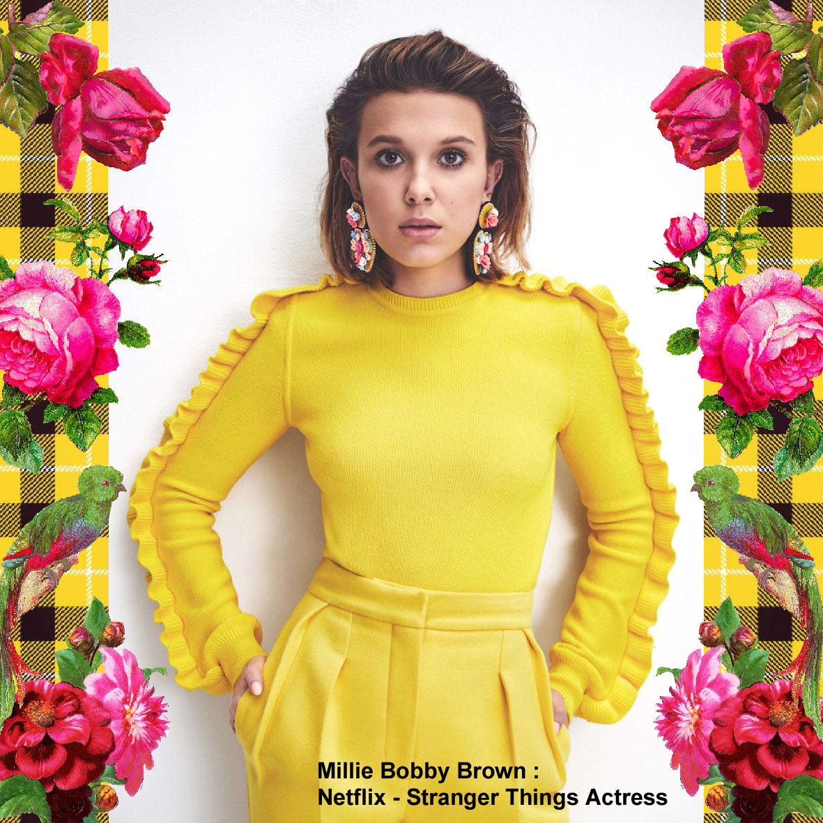 Millie bobby Brown Actress wearing Mouchkine Jewelry couture earrings