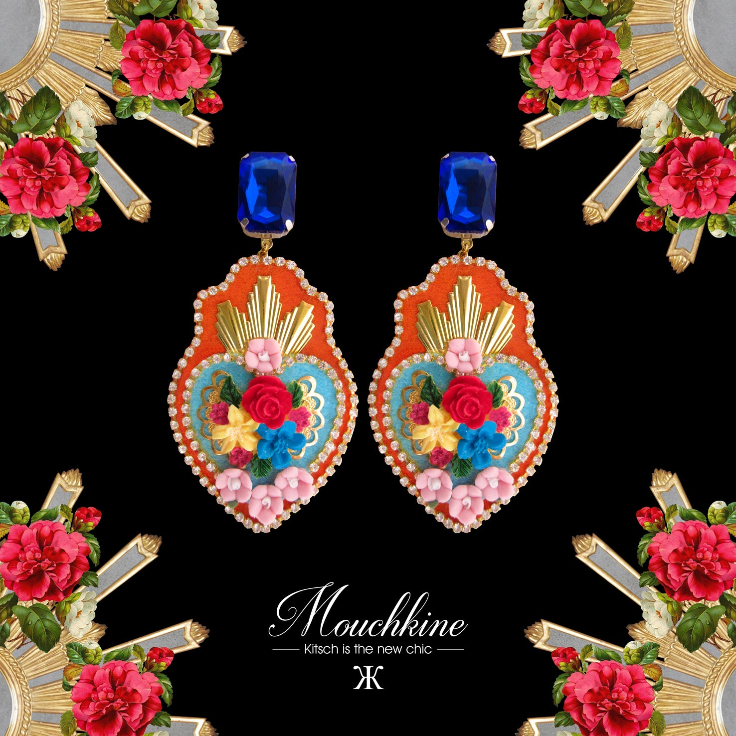 Mouchkine Jewelry luxury floral couture handmade exvoto earrings.