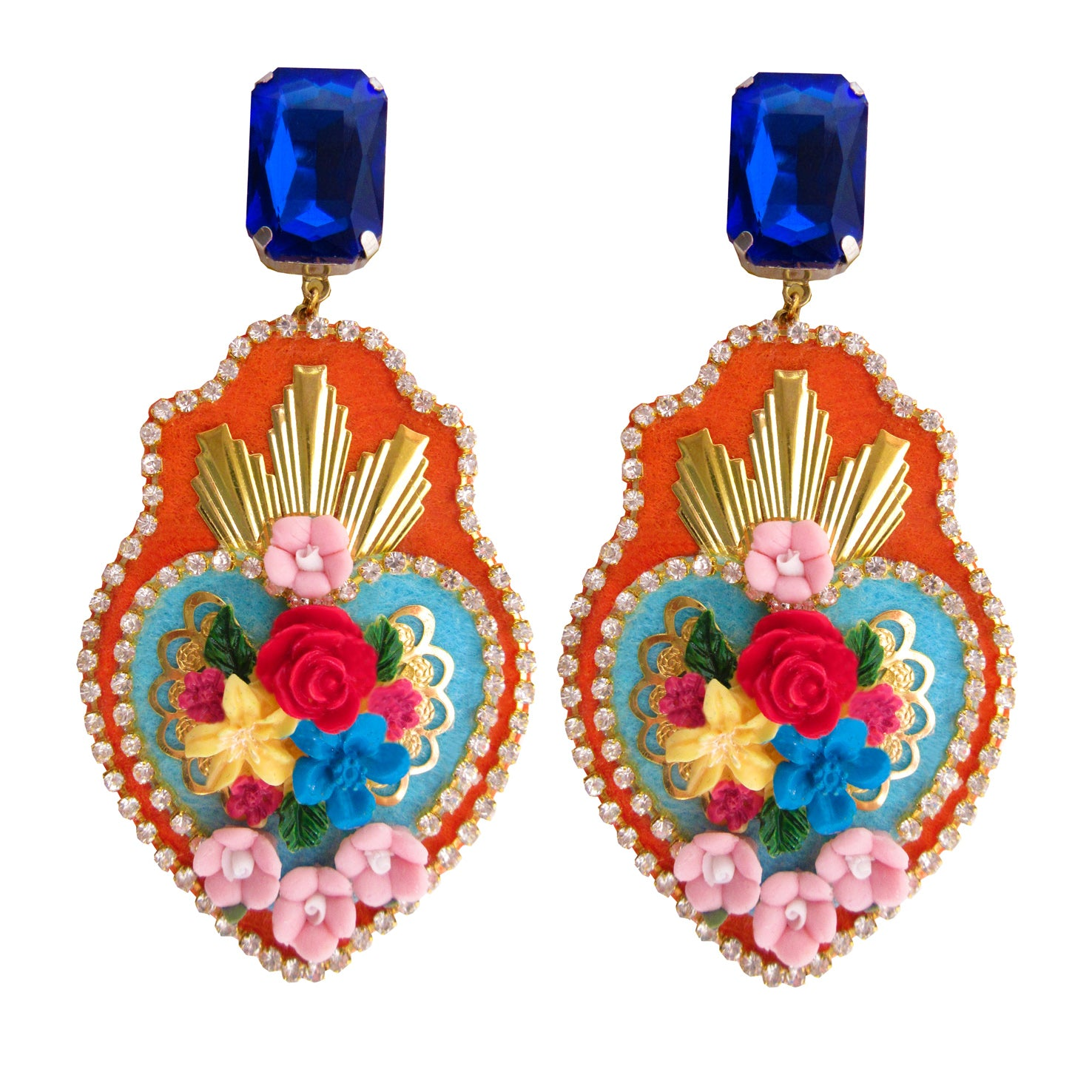 Mouchkine Jewelry floral couture handmade exvoto earrings.
