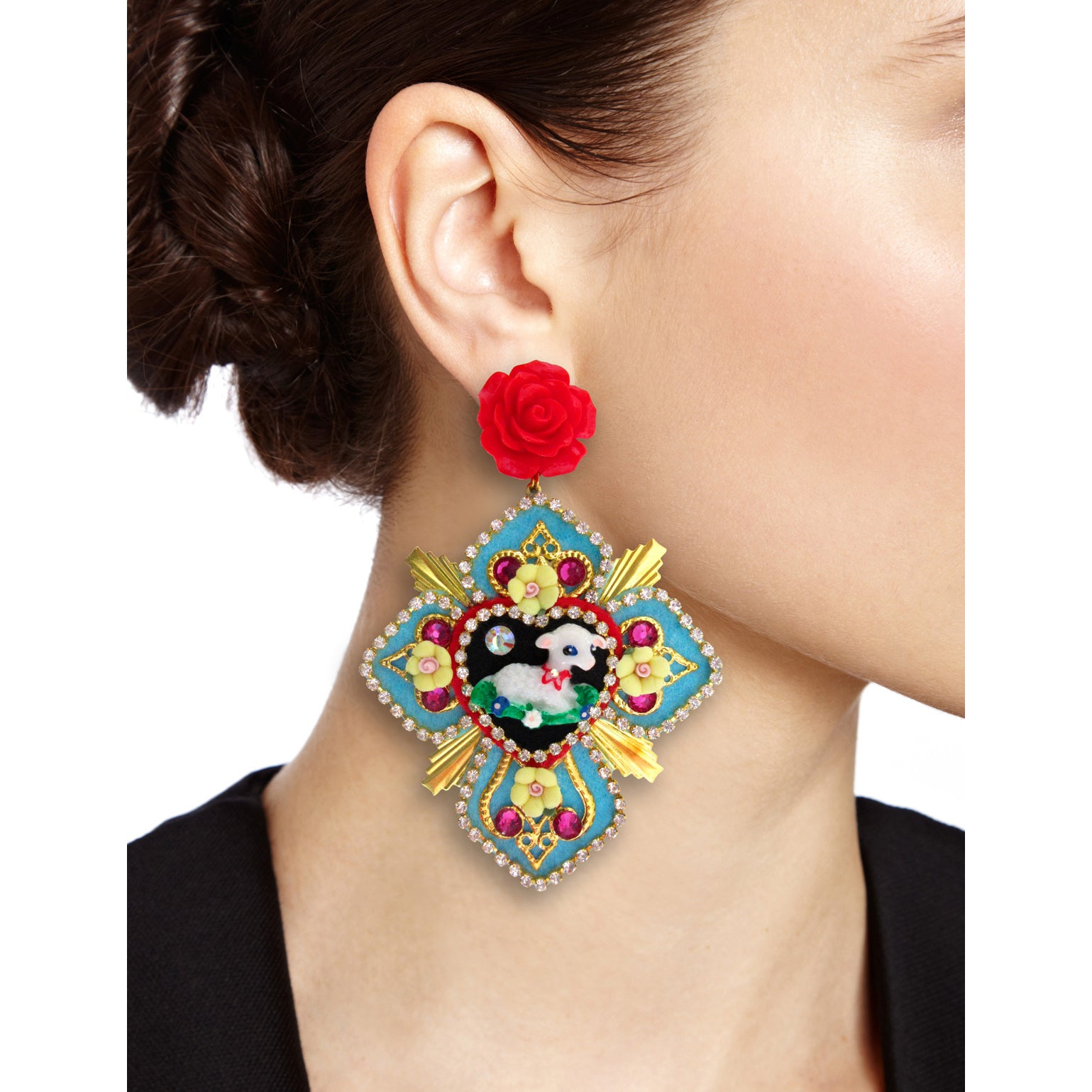 Mouchkine Jewelry couture glamour cross and sheep pendant earrings.