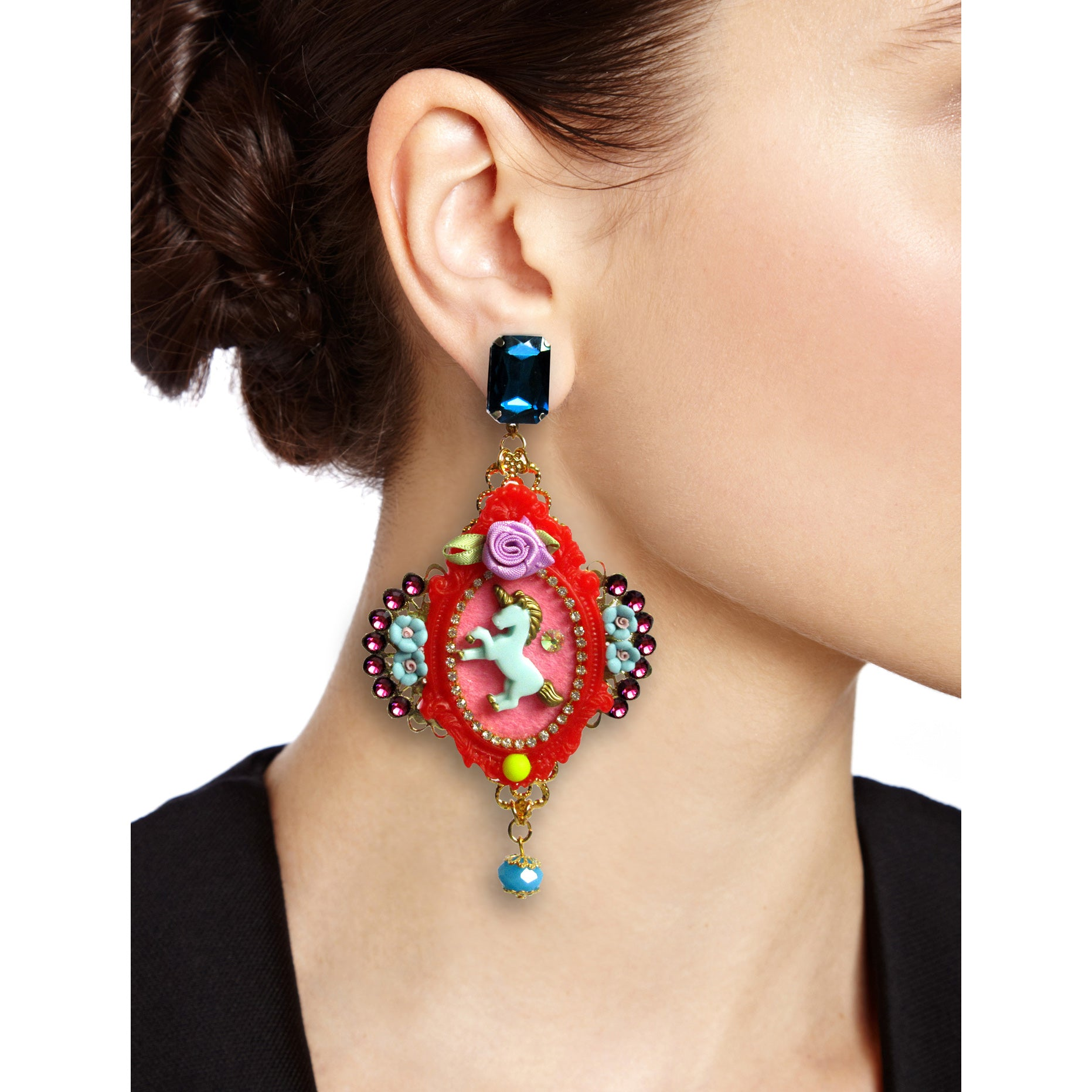 mouchkine jewelry incredible unicorn earrings, a haute couture jewel for a chic & elegant style
