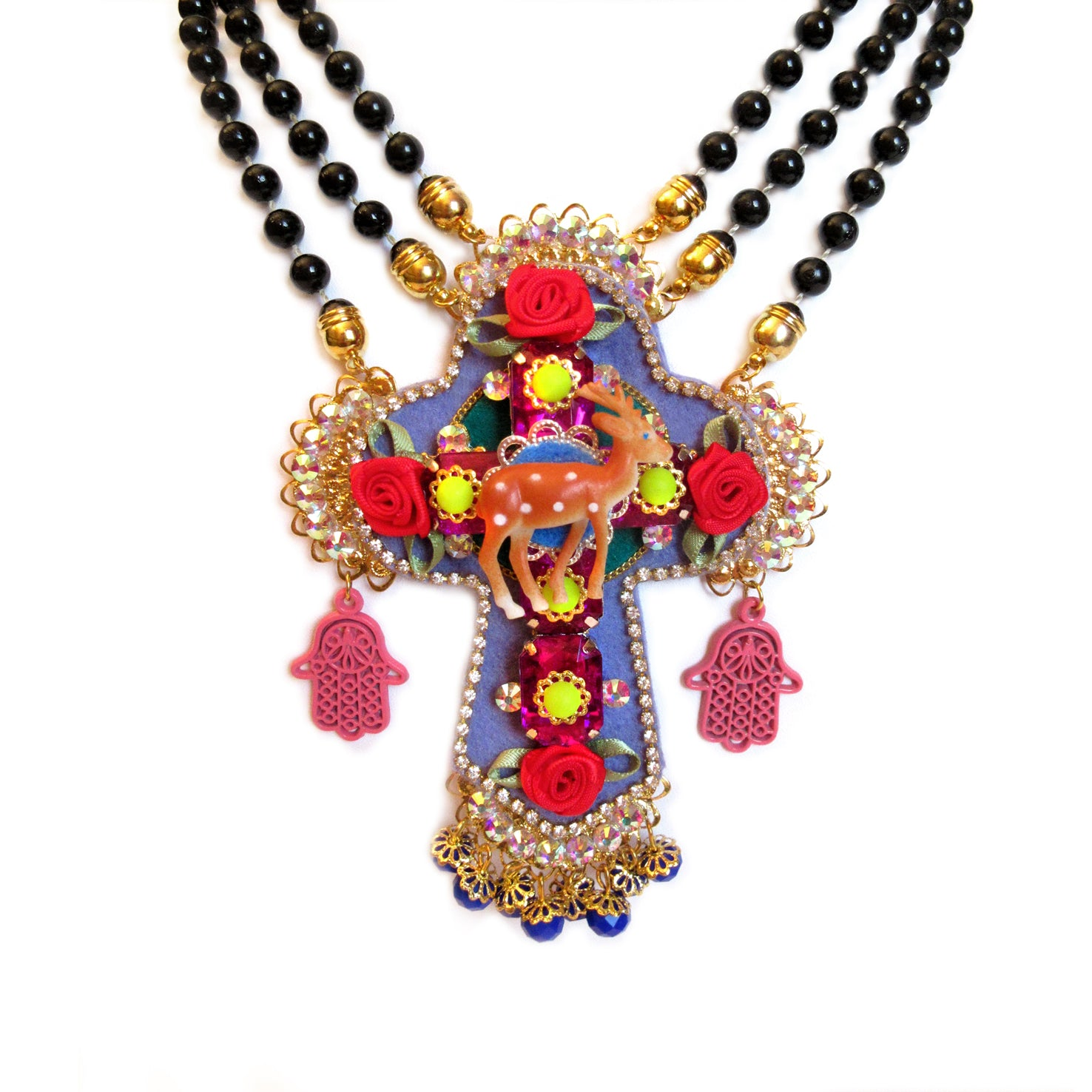 mouchkine jewelry haute couture bambi cross necklace, a handmade in france amazing jewel.