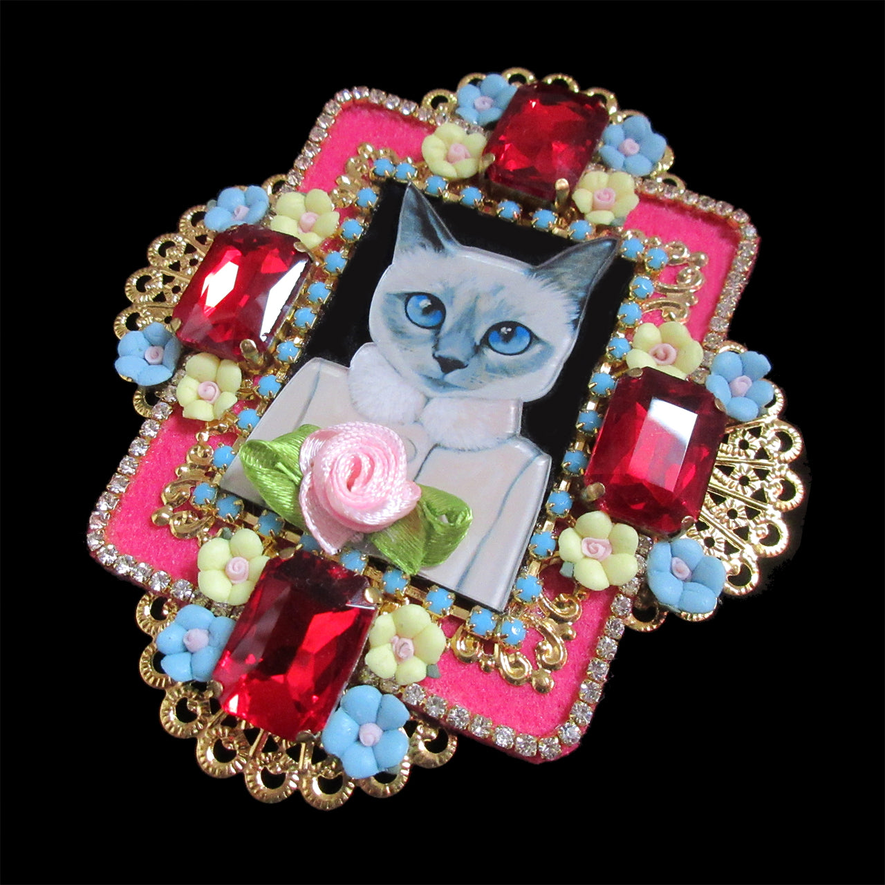Mouchkine Jewelry handmade in france luxury cat Brooch.