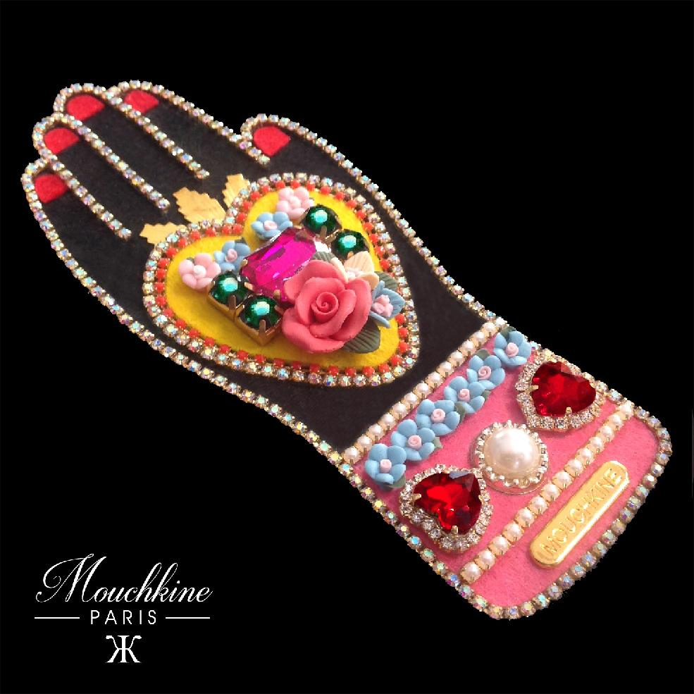 mouchkine jewelry haute couture brooch : a sublime hand with a heart full of flowers and rhinestones
