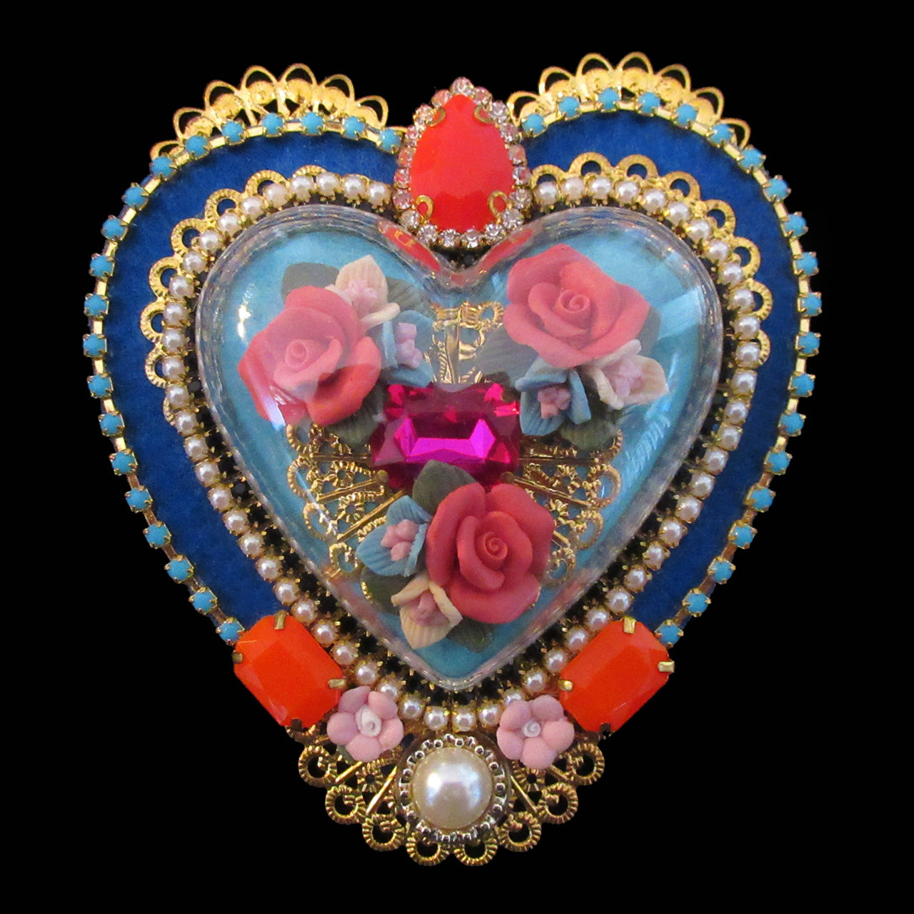 mouchkine jewelry unique pieces couture heart brooch. handmade in france.