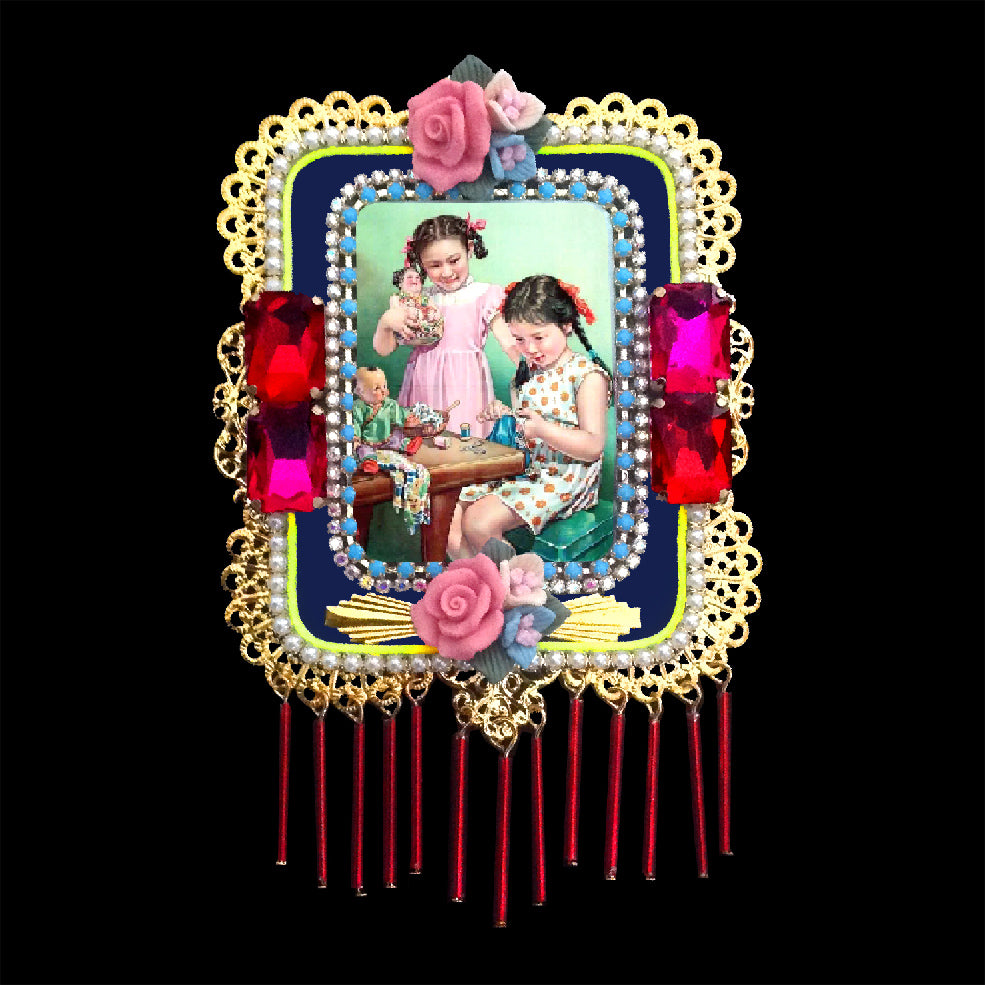 mouchkine jewelry couture handmade in france sophisticated brooch with a vintage chinese illustration