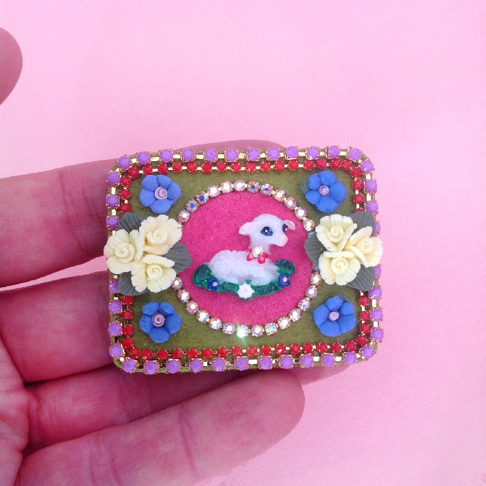 mouchkine jewelry colorful pop chic brooch with a sheep and ceramic flowers