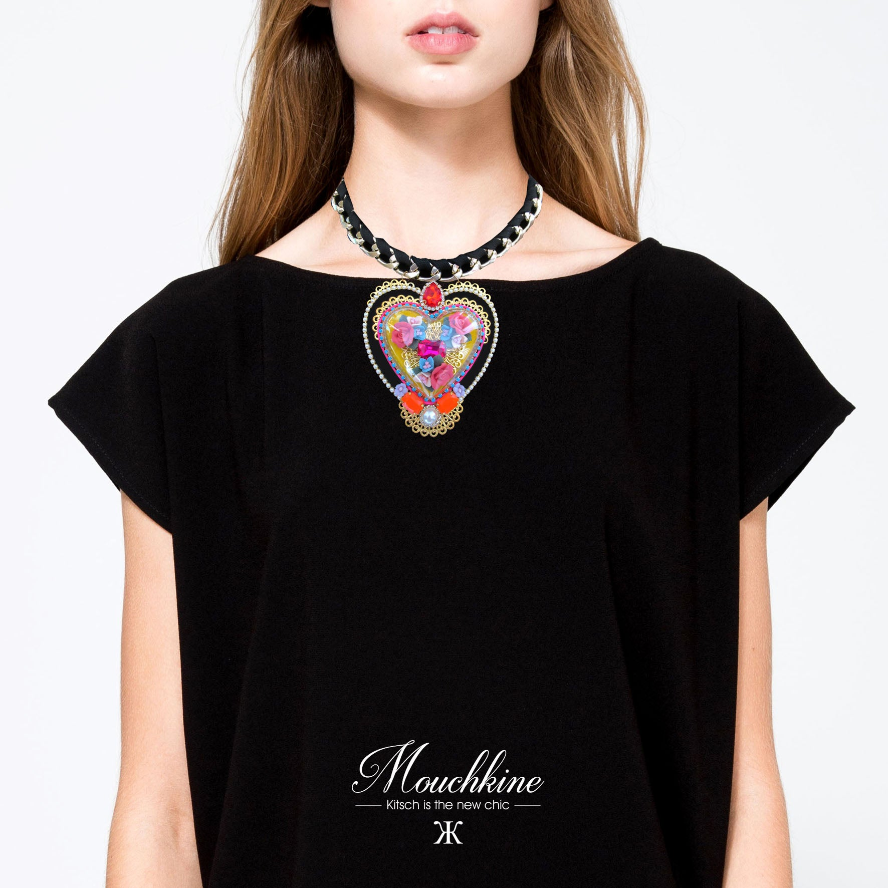 mouchkine jewelry necklace bijoux collier coeur heart chic luxury handmade jewels trendy classy statement