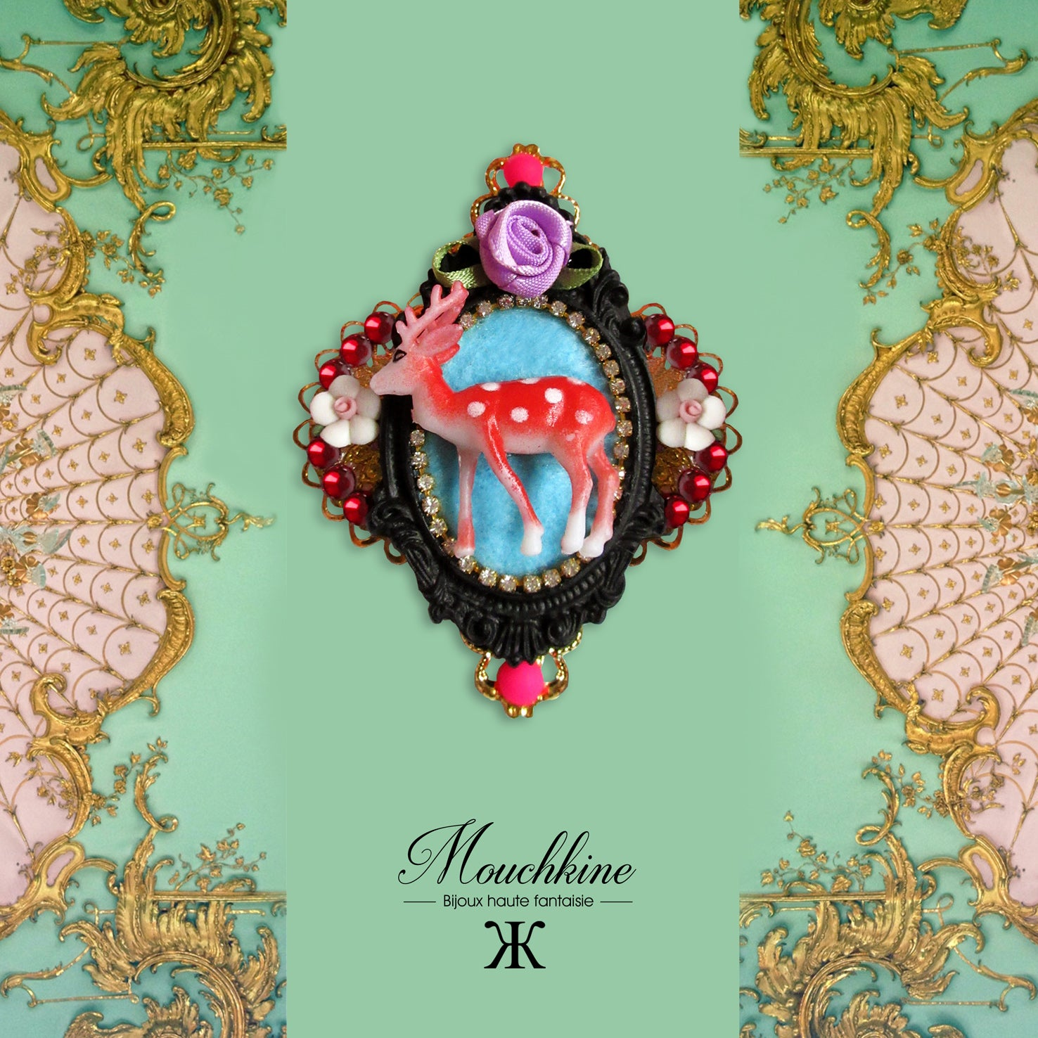 mouchkine jewelry bambi baroque brooch, a haute couture jewel for a chic and elegant style, with a stylish and unique look. Broche bambi baroque par Mouchkine, un bijou unique plein de charme, chic, precieux et décalé pour un look mode et très couture.