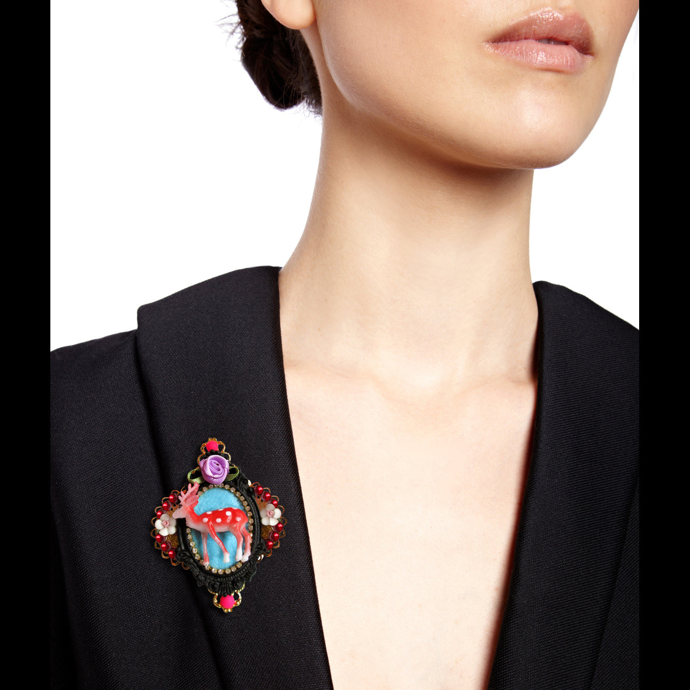 mouchkine jewelry bambi baroque brooch, a haute couture jewel for a chic and elegant style