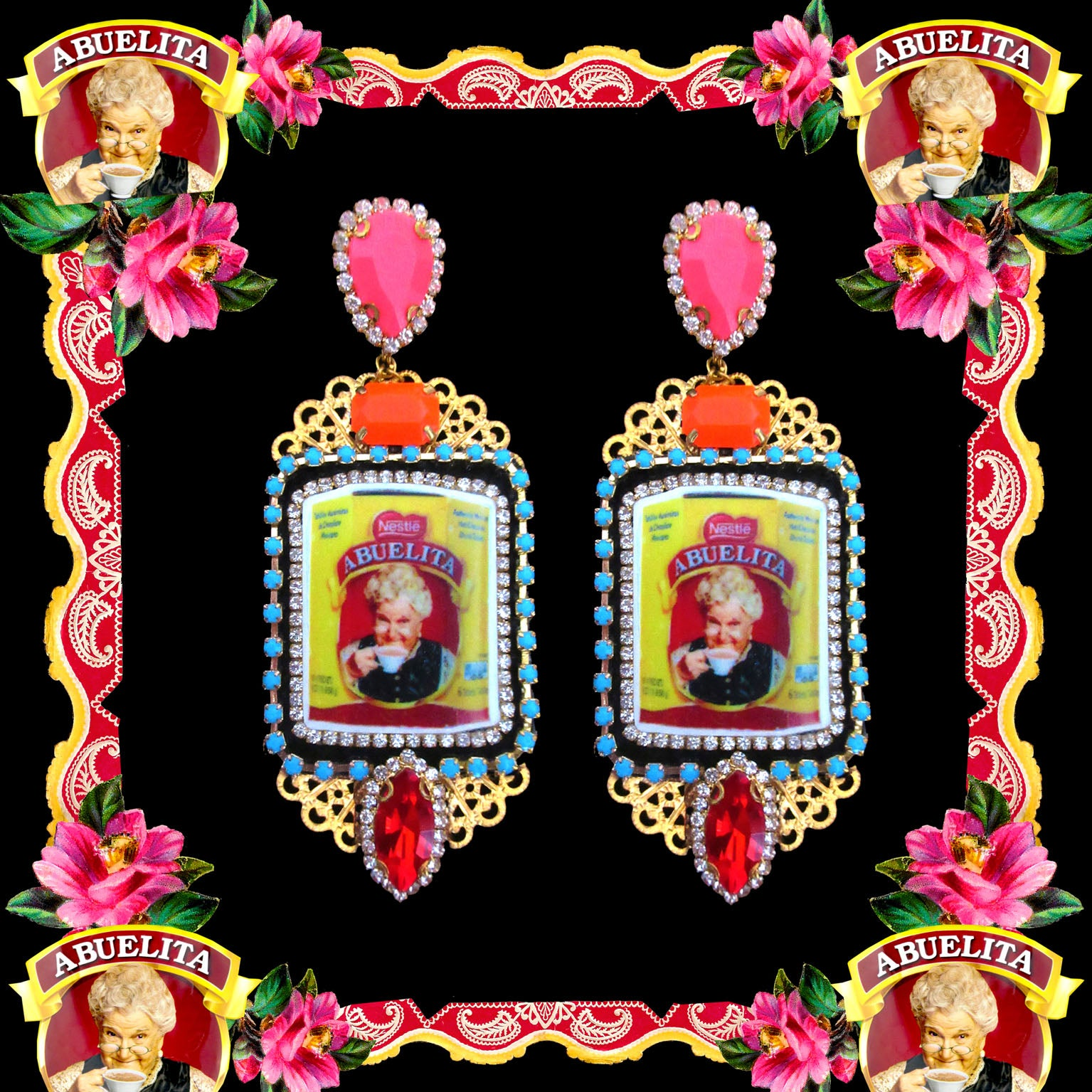 mouchkine jewelry handmade earrings pendant, an abuelita chic picture with red, pink and orange crystals. A luxury haute couture creation.
