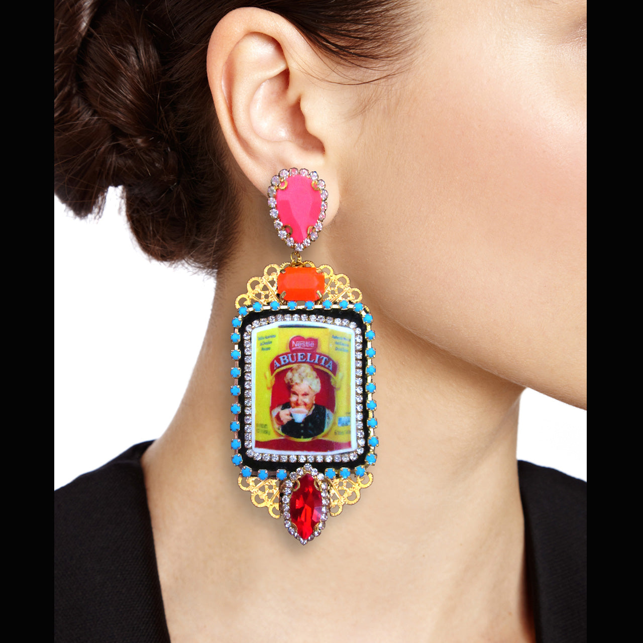 mouchkine jewelry earrings, an abuelita retro chic picture with red, pink and orange crystals. A unique style with a haute couture tone.