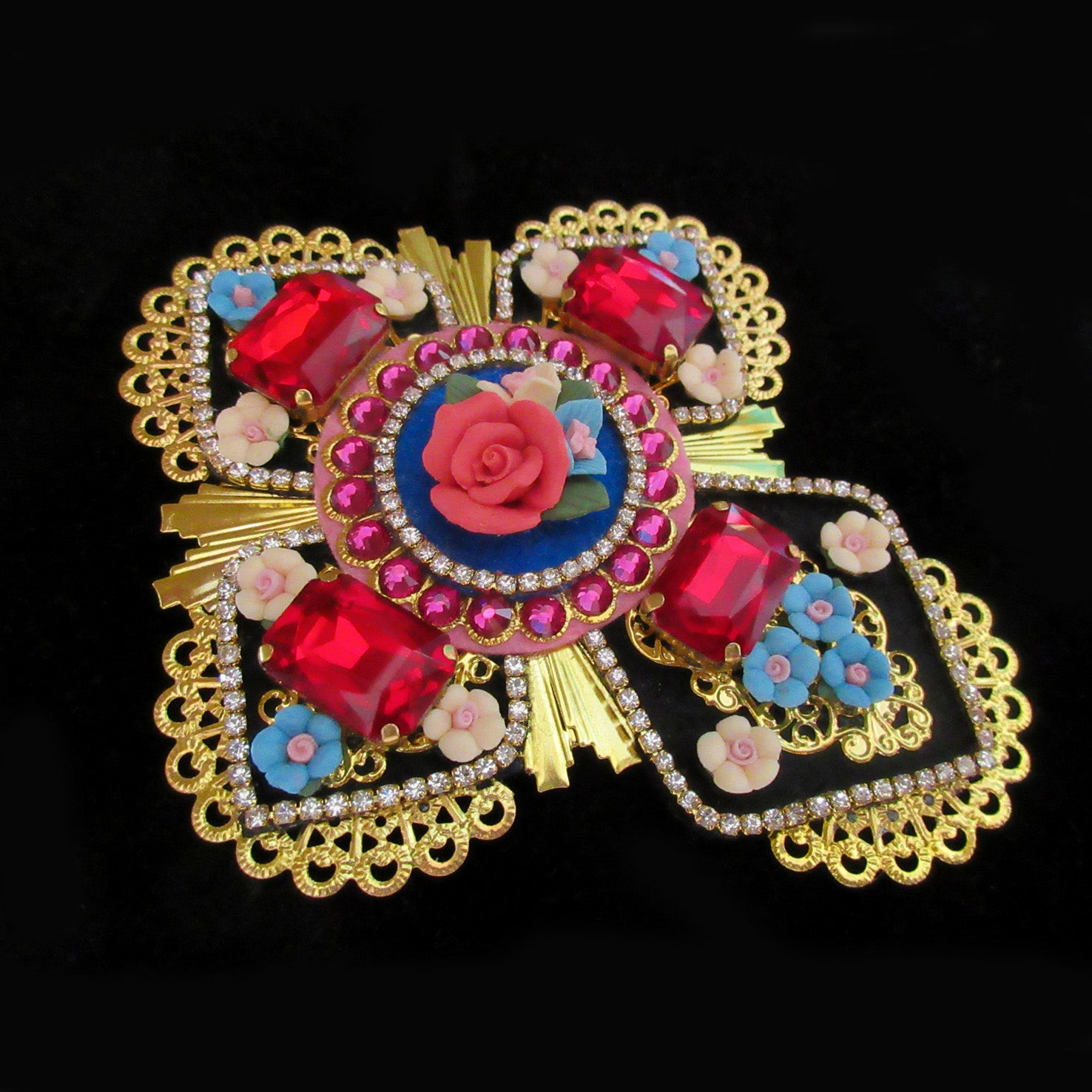 Mouchkine Jewelry haute couture glamour luxury cross brooch, handmade in france.