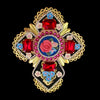 Mouchkine Jewelry haute couture baroque luxury cross brooch, handmade in france.