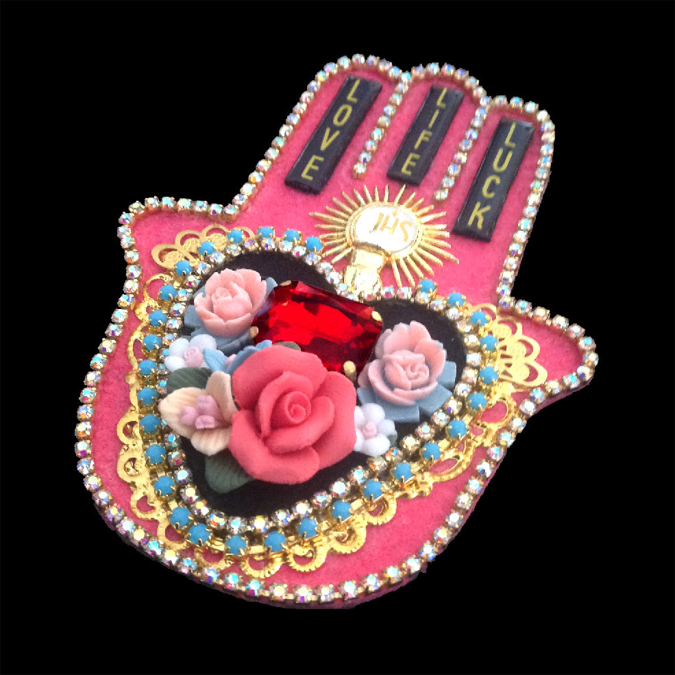 mouchkine jewelry handmade in France couture brooch. A lucky fatma hand jewel.