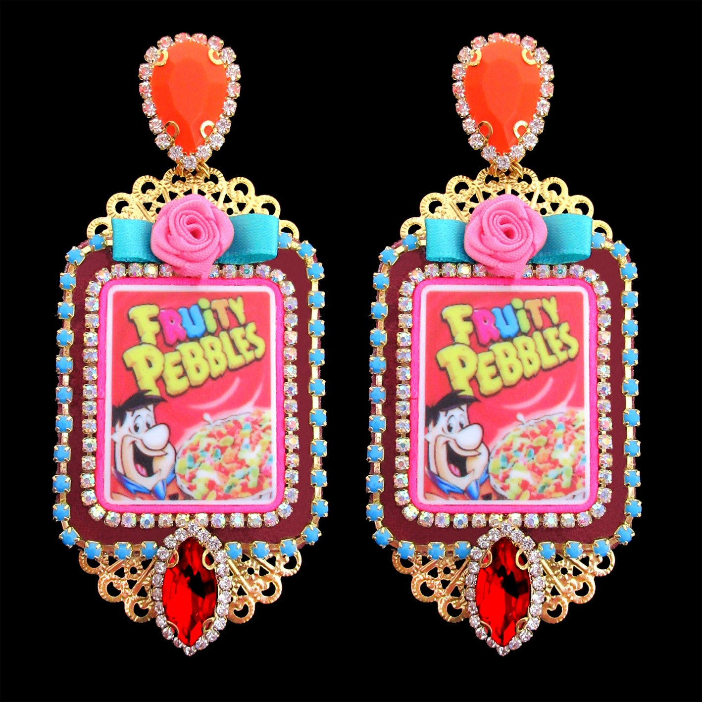 mouchkine jewelry couture luxury flintstones earrings, popart made in france.