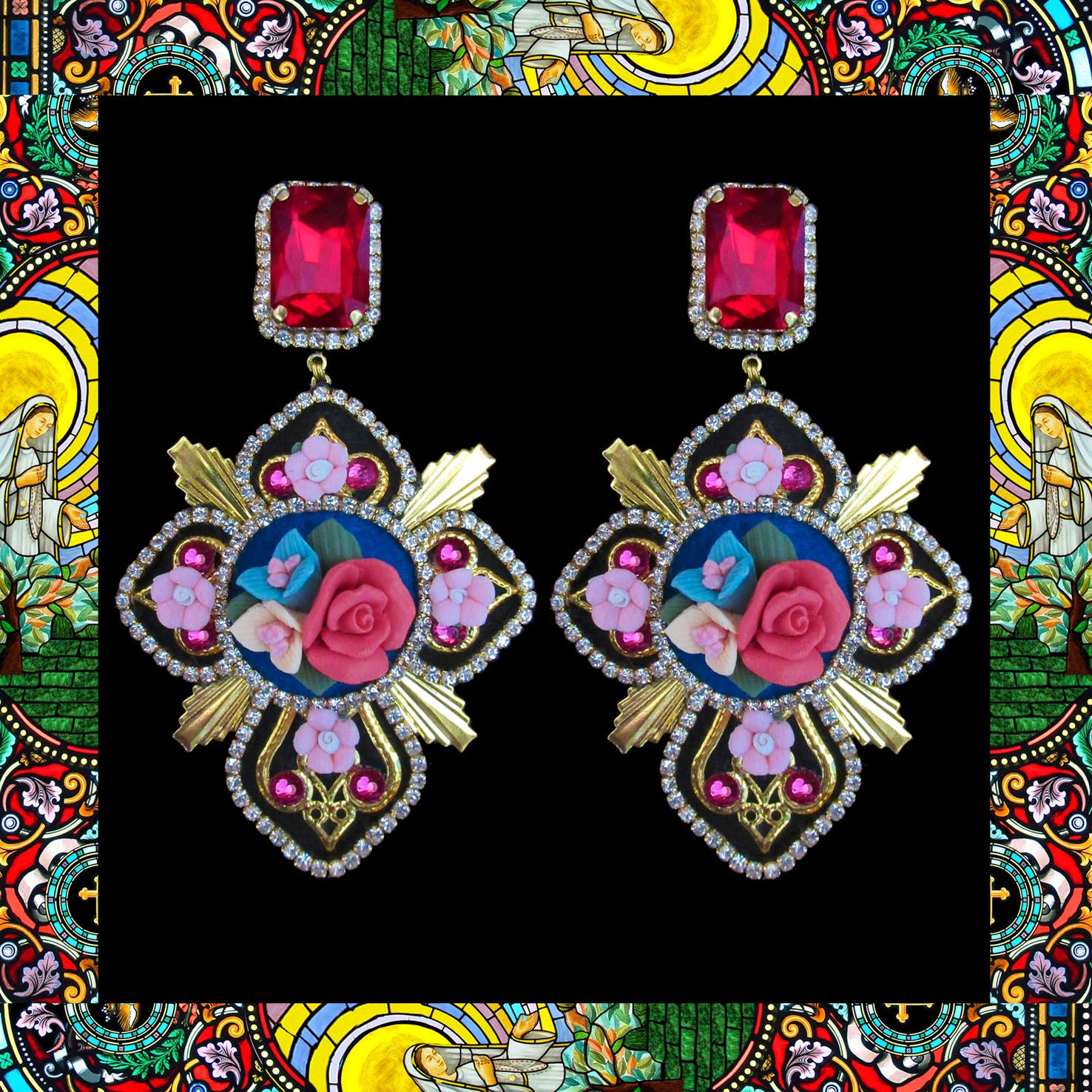 Mouchkine Jewelry couture and luxury cross earrings. Handmade in France, with ceramic flowers & red swarovski crystals.