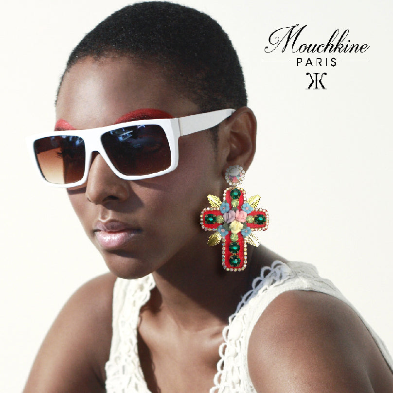 mouchkine jewelry stunning couture earrings handmade in France on sublime fashion model