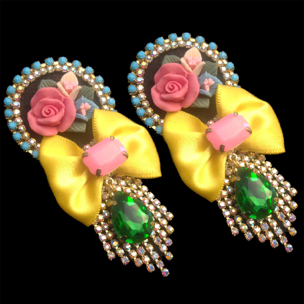 statement chic and elegant floral earrings by Mouchkine Jewelry, handmade in france