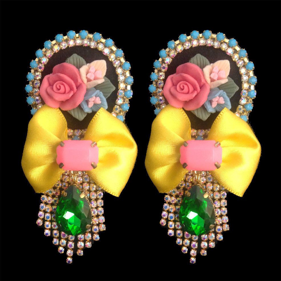 statement chic and elegant floral earrings handmade in france