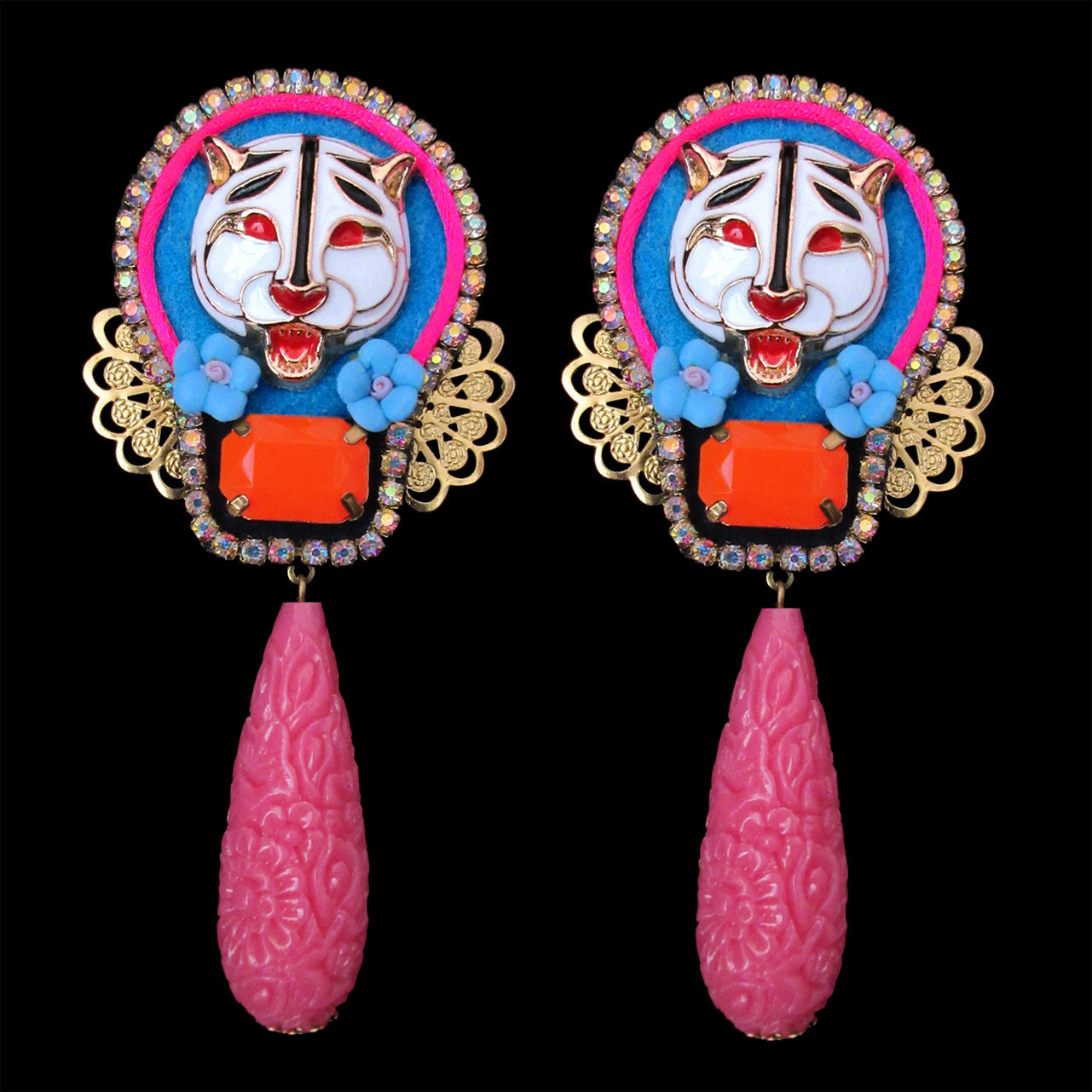 Mouchkine Jewelry white tiger painted head earrings, with pink pendant and blue ceramic flowers. Chic handmade in France.