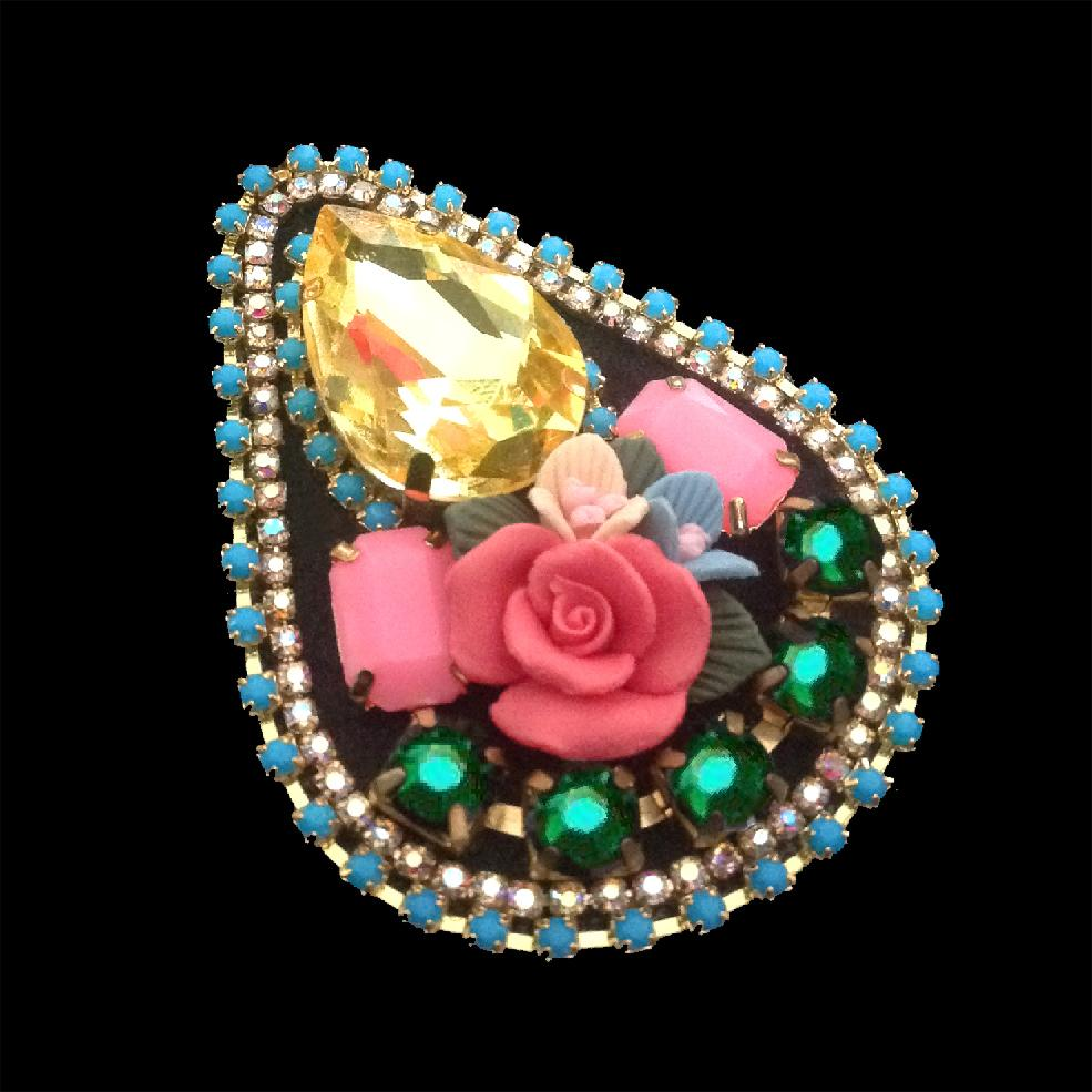 mouchkine jewelry chic handmade brooch with yellow crystal and ceramic flowers