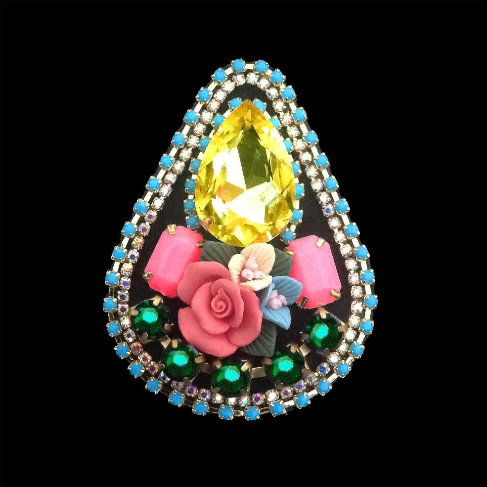 mouchkine jewelry chic brooch with yellow crystal and ceramic flowers