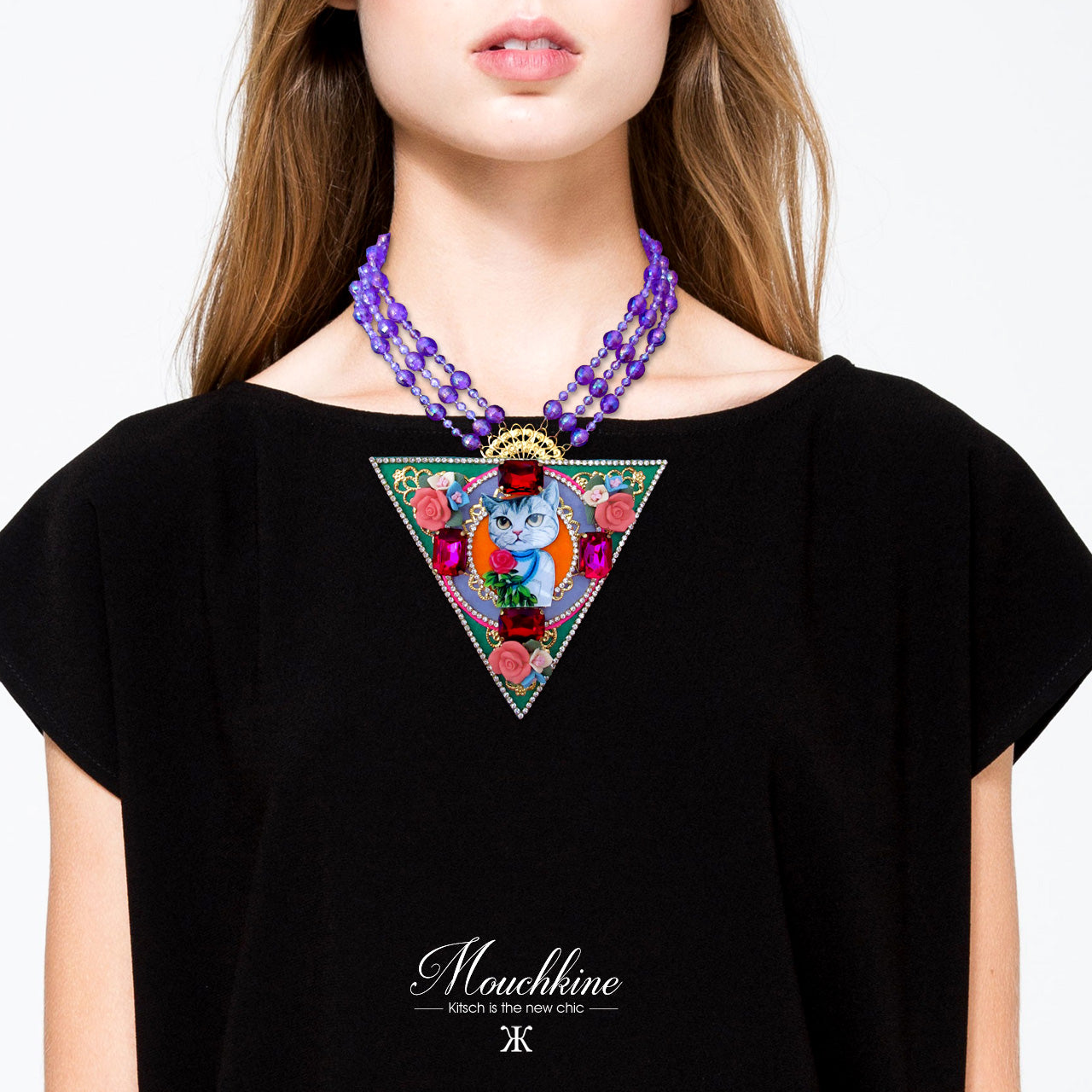 mouchkine jewelry handmade trendy couture cat necklace