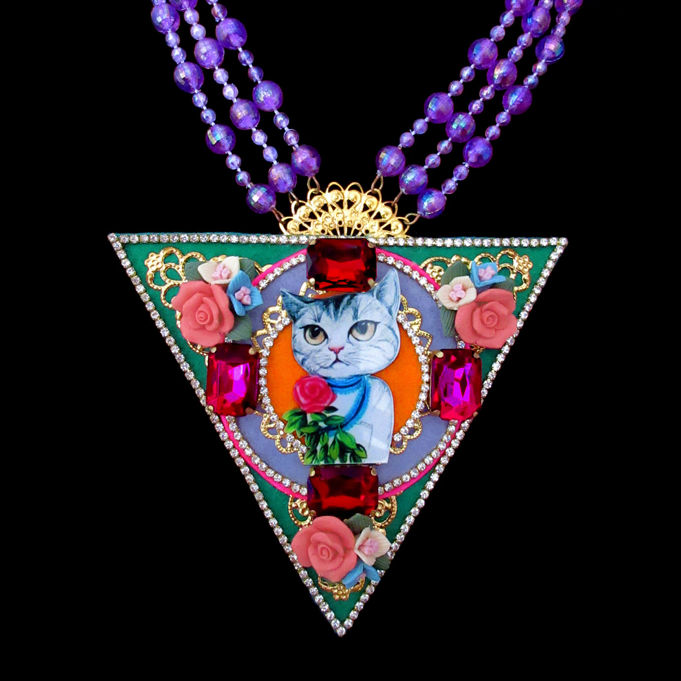 mouchkine jewelry bijoux triangle necklace with lady cat, ceramic flowers and swarovsky crystals. A bohochic jewel for a unique style.