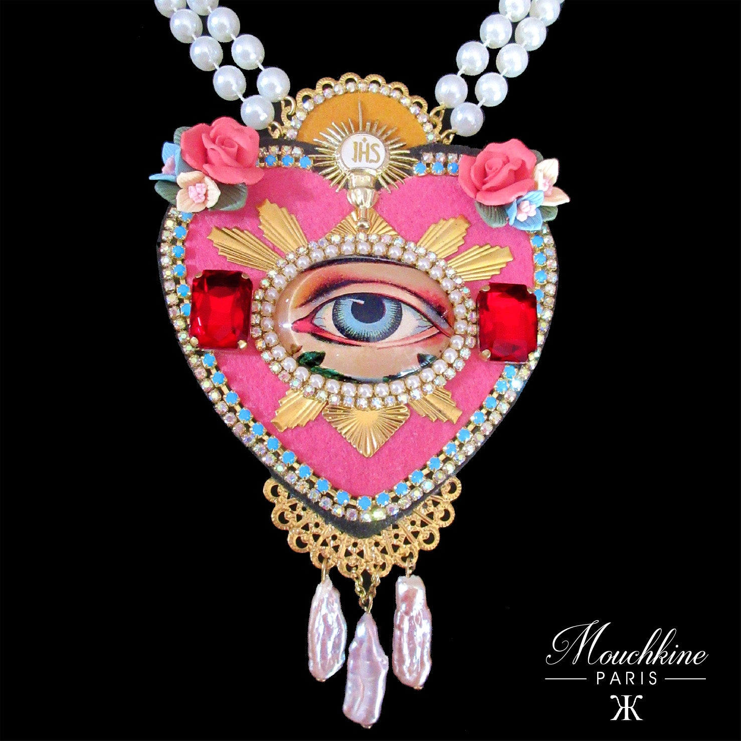 mouchkine jewelry couture pink heart with a center vintage eye necklace