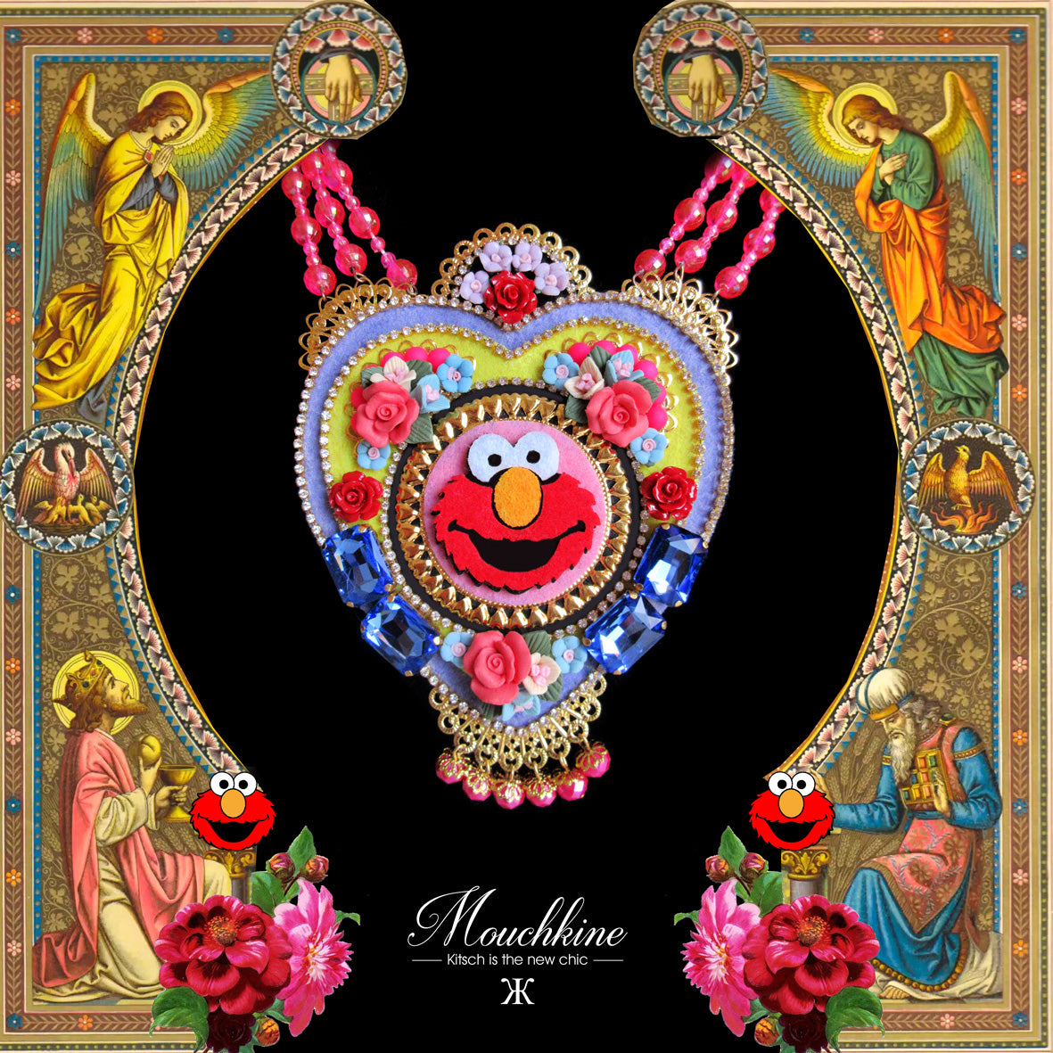 Mouchkine Jewelry handmade in france haute couture pop culture Elmo Necklace