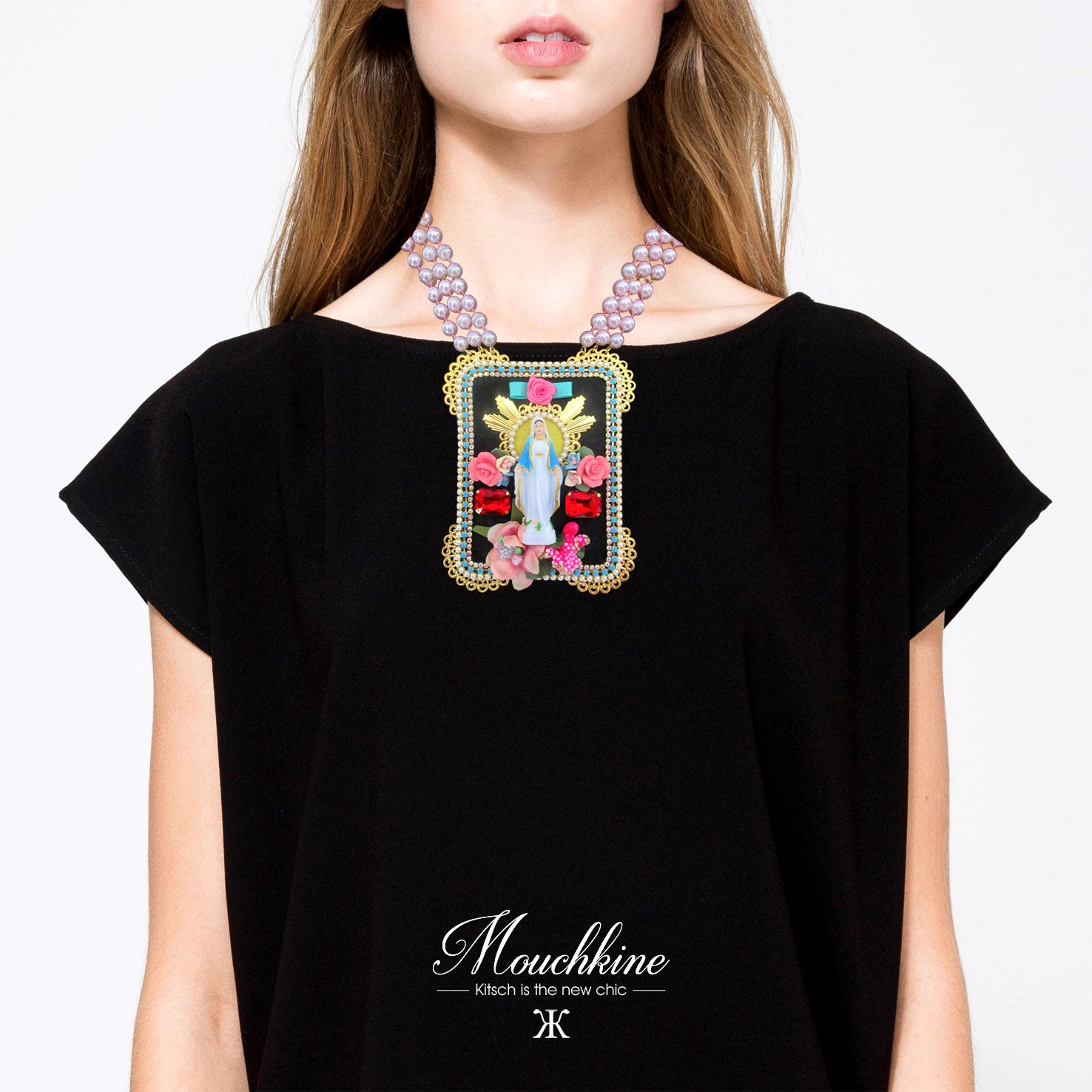 mouchkine jewelry handmade in paris couture iconic statement madonna necklace.