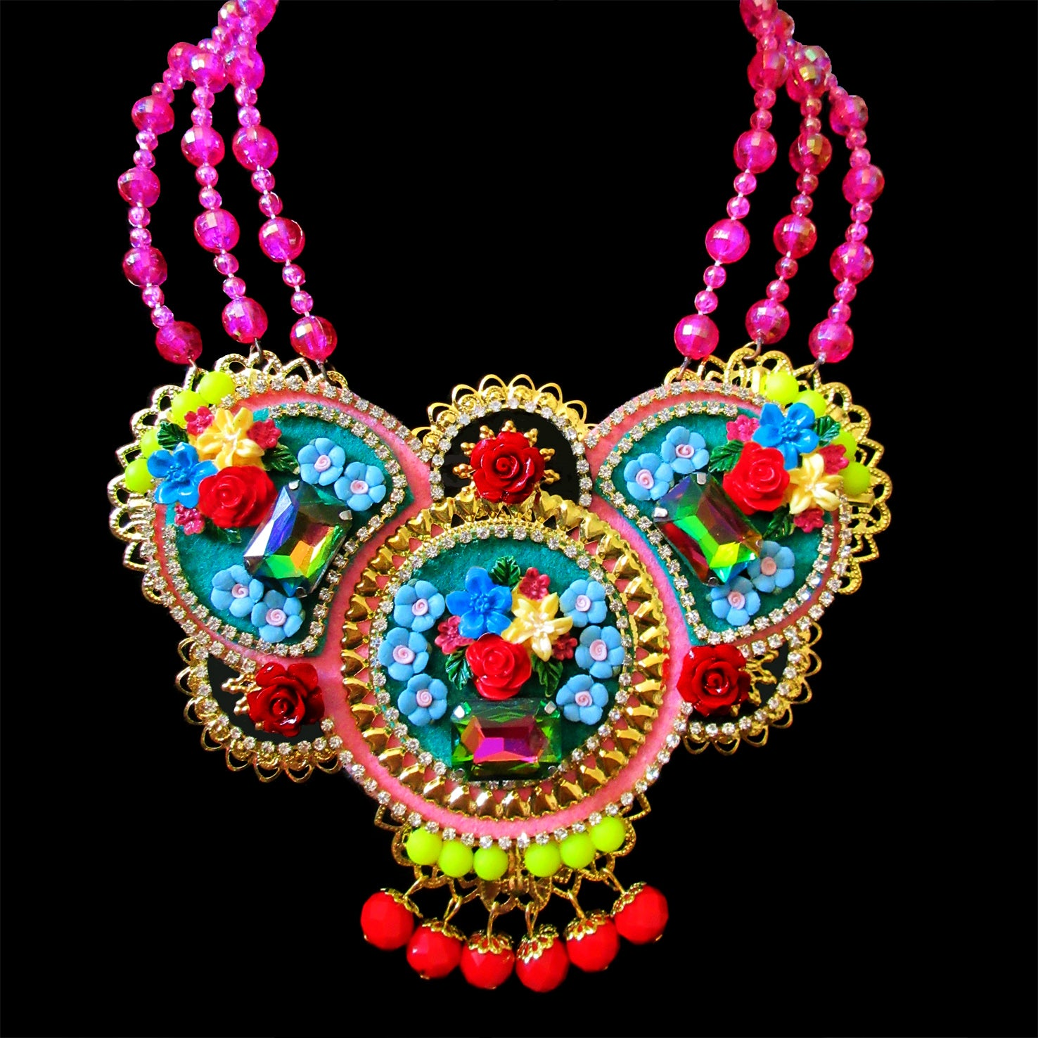 Mouchkine Jewelry handmade couture statement floral Necklace