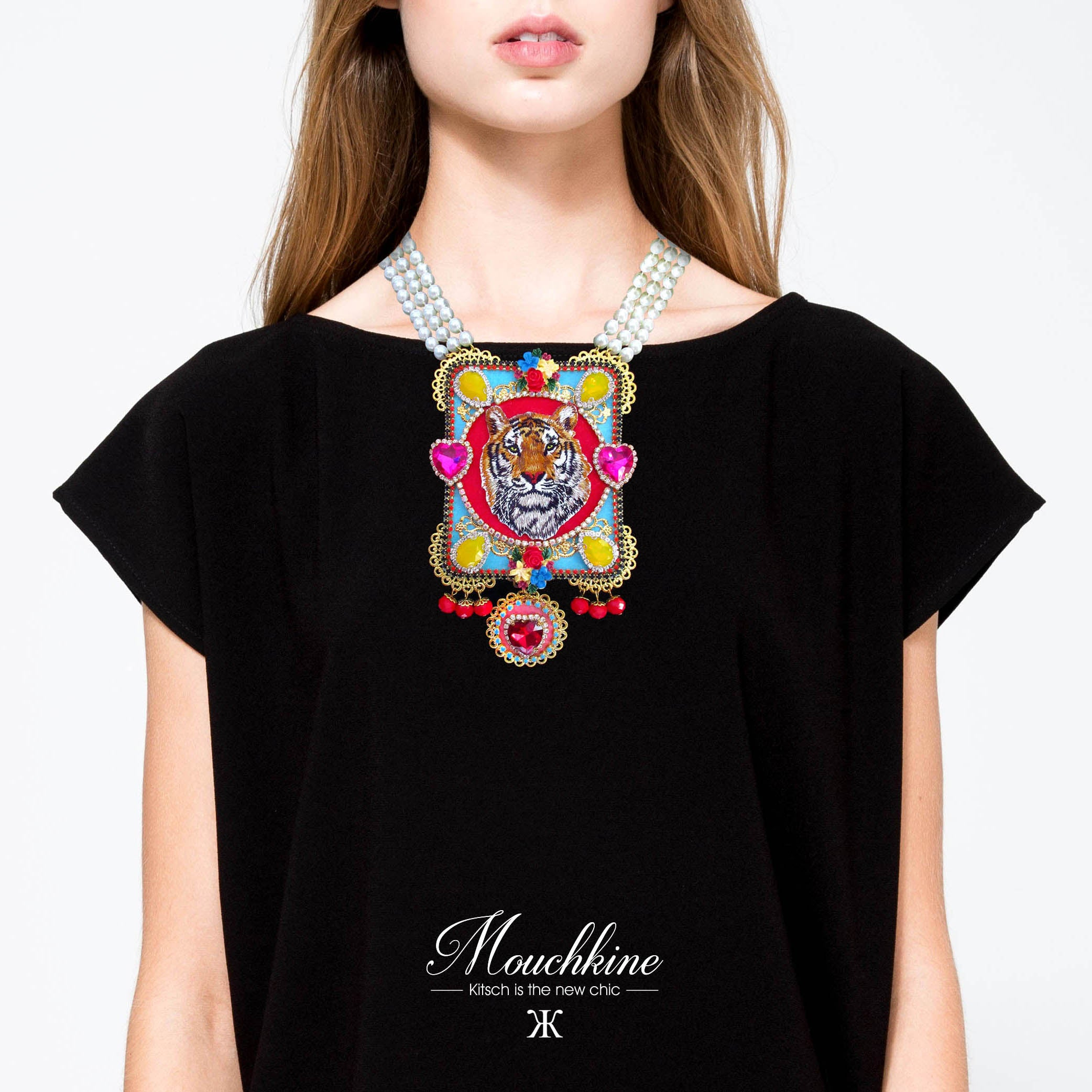 Mouchkine Jewelry made in france chic and trendy tiger statement necklace