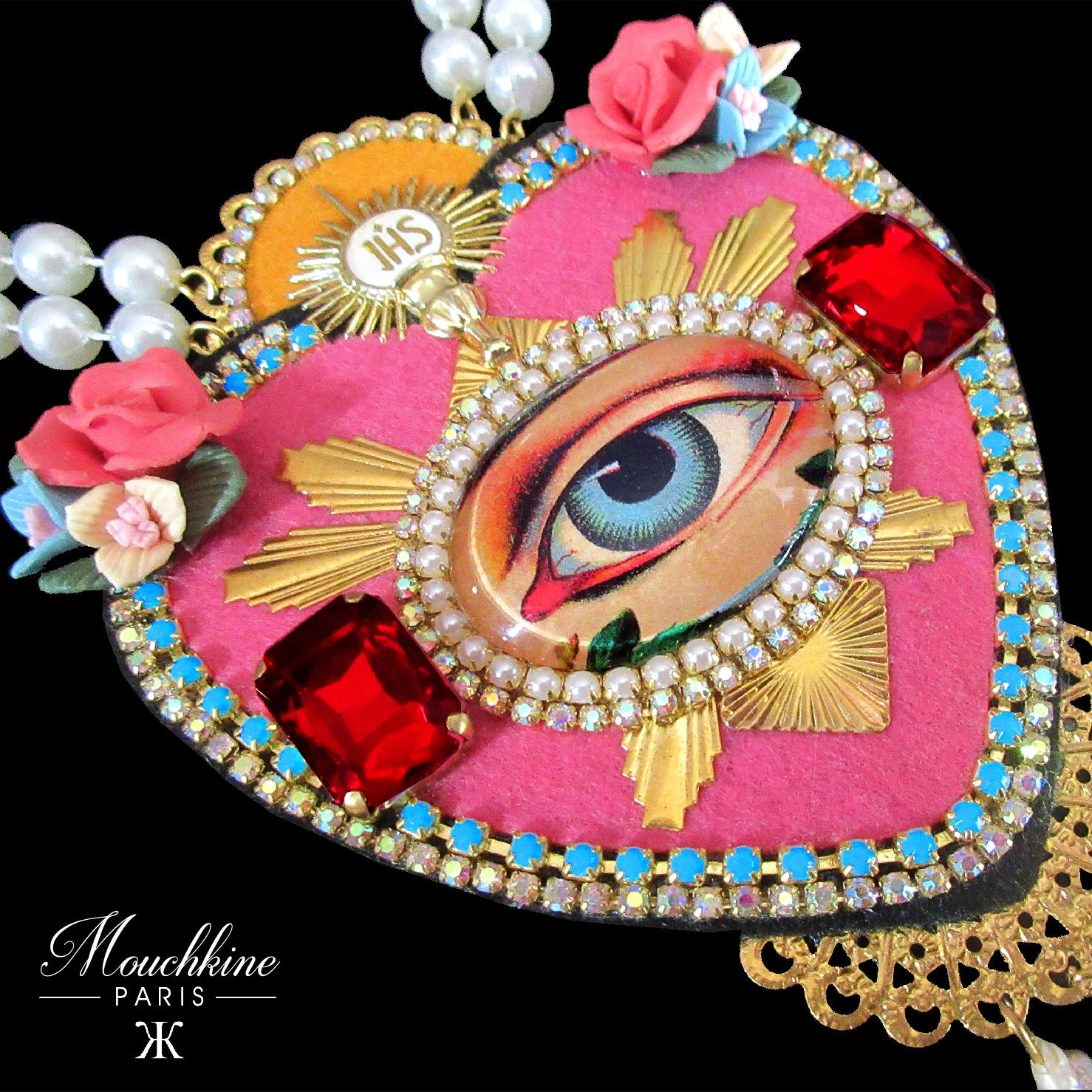 mouchkine jewelry luxury handmade in france pink heart with antique eye necklace
