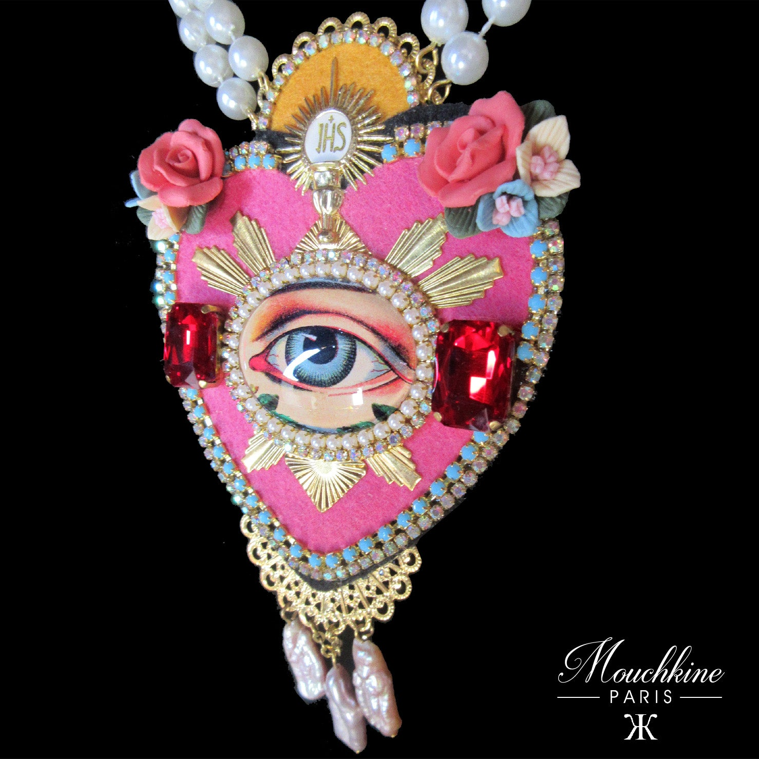 mouchkine jewelry luxury handmade necklace. a pink heart with an antique eye and real pearls.
